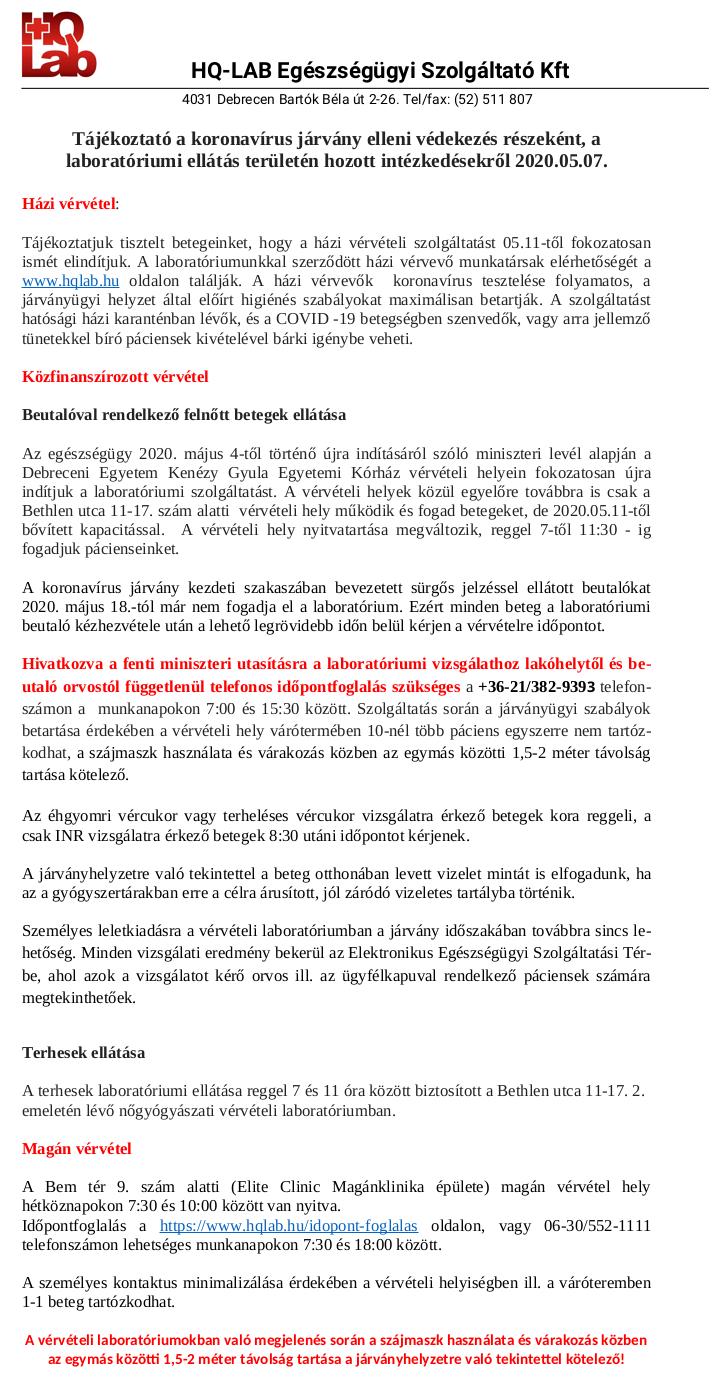 Koronívírus tájékoztató - HQLAB